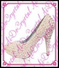 Aidocrystal einzigartiges design 12 cm high heel 2016 romantische rosa perlen braut hochzeit schuhe
