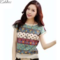 1PC Plus Size T Shirt Women 2016 Summer Tops Fashion Print Short Sleeve Camisetas Mujer Tee Shirt Femme ZZ3427
