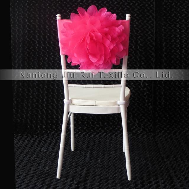 200 PCS Livraison Gratuite Rose Chaud Organza Fleur Chaise Sash Fushia Bande Strech