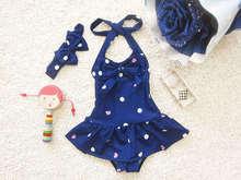 2016 New Summer Girls Swimsuit Dots Bow Fashion Baby Swim Sets Bikini Children Skirt Swimsuits for Kids Girl Tankini