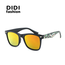 DIDI New Camouflage Sunglasses Kids Ray Military Goggles Glasses Girl Boy Mirror Coating Eyewear Flat Shark Oculos Infantil H171