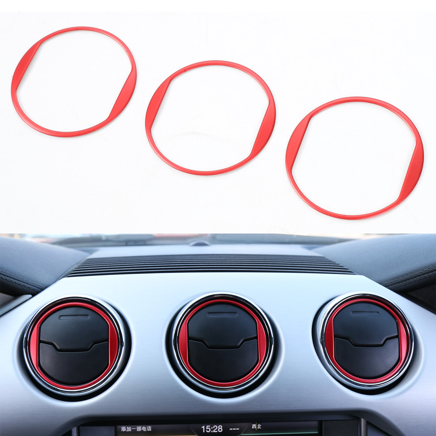 YAQUICKA 3Pcs Car Interior Dashboard Central Air Conditioner Vent Ring Circle Trim Sticker Sequins For Ford Mustang 2015 2016 2 pcs set stainless steel car air vent circle trim air conditioner protection sticker for kia sportage kx5 ql 2016 2017 parts