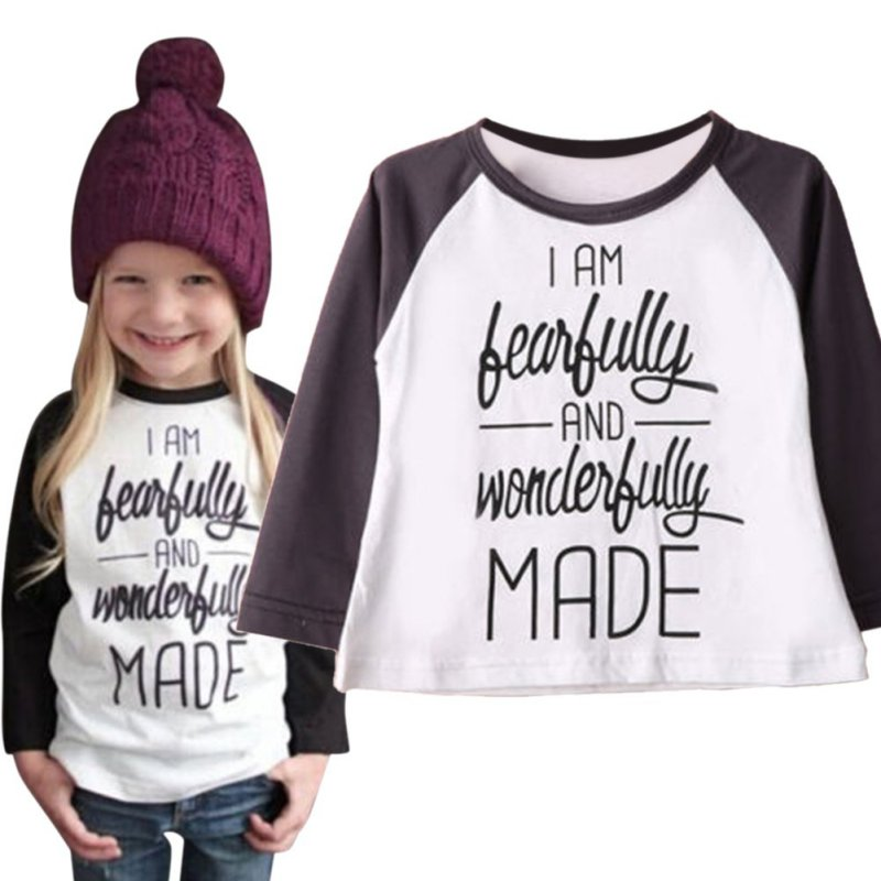 100% Cotton Baby Girls Letter Print T-Shirt Winter Toddler Long Sleeve Tops Blouse Autumn Cotton T shirt Girls Clothing