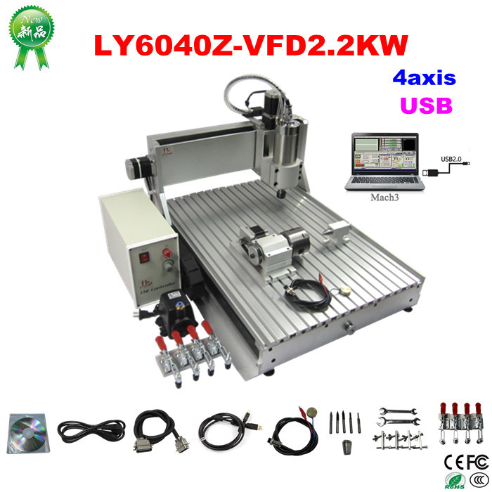 LY 6040Z-VFD USB 4axis cnc router machine with USB port 2.2KW VFD water cooling spindle mini wood lathe купить