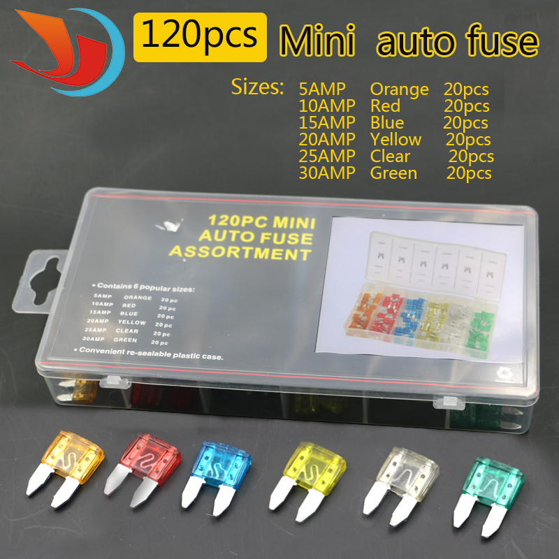 standard 120pcs/set  Auto Automotive Car Boat Truck Blade Fuse Box Assortment 5A 10A 15A 20A 25A 30A Power tool accessories 40a blade contact fuse link base holder nt00 500v 120ka 660v 50ka