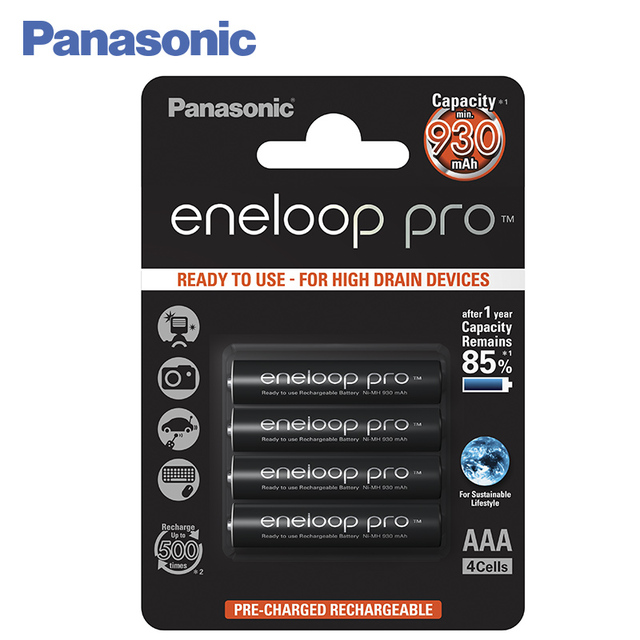 Panasonic BK-4HCDE/4BE Аккумуляторы eneloop pro 930 мАч R03 AAA BL4.Топовая модель высокой емкости и производительности для активных пользователей мощной техники (вспышка для фотокамеры, радиоуправляемые игрушки и пр.)