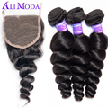 Ali Moda Brazilian Loose Wave 3 Bundles with Lace Closure Unprocessed Brazilian virgin hair with closure 100% Human hair weave