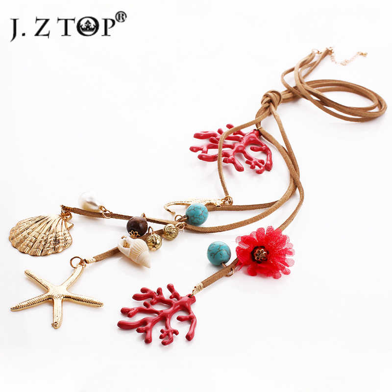 JZTOP Brand Imitation Pearl Flower Pendant Leather Rope Necklaces Fashion Alloy Coral Shell Starfish Star Tassel Necklace