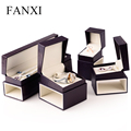 FANXI purple red color leatherette paper jewelry box gift box ring/pendant/bracelet/chain box for wedding jewelry packing box