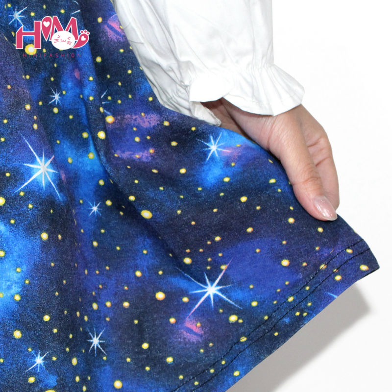 Harajuku Starry sky skirt astral print skirts summer tutu cotton skirt blue color emoji starry galaxy skirt cotton free shipping (1)