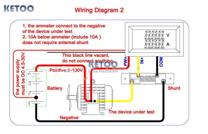 Blue red led display DC 0 100V/500A Dual Volt Amp Meter ... Dc External Shunt Amp Meter Wiring Diagram on