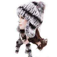 Knitted Hat 2017 Winter Rabbit Fur Beanies Headgear Women Fox Fur Luxury Ball Flower Cap Women