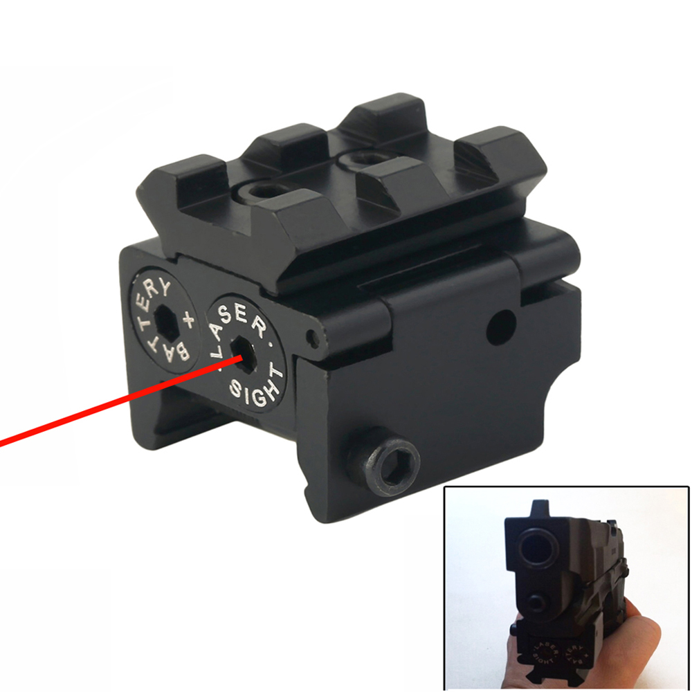 Mini Tactical Red Dot Laser sight Scope 650nm 300m 28x26mm DC 4.5V Dual Weaver For 20mm Rail Mount Compact