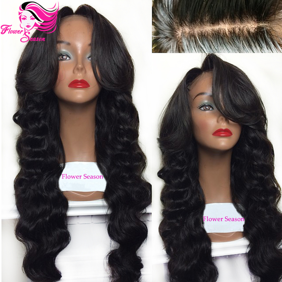 Middle Side Bangs Brazilian Glueless Silk Base Lace Wigs Virgin Human Hair Silk Top Lace Front