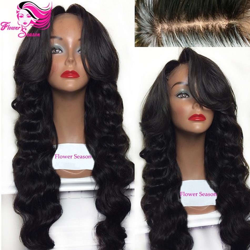 Middle Side Bangs Brazilian Glueless Silk Base Lace Wigs