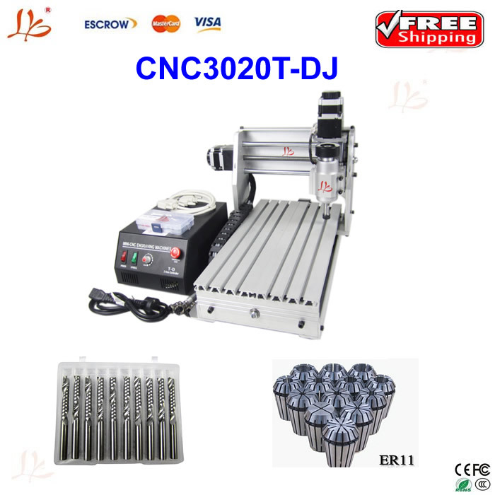 Free shipping mini 3 axis CNC 3020T-DJ 230w Router Engraver Engraving Drilling and Milling Machine cnc 3020 mini desktop engraving machine 2030 drilling