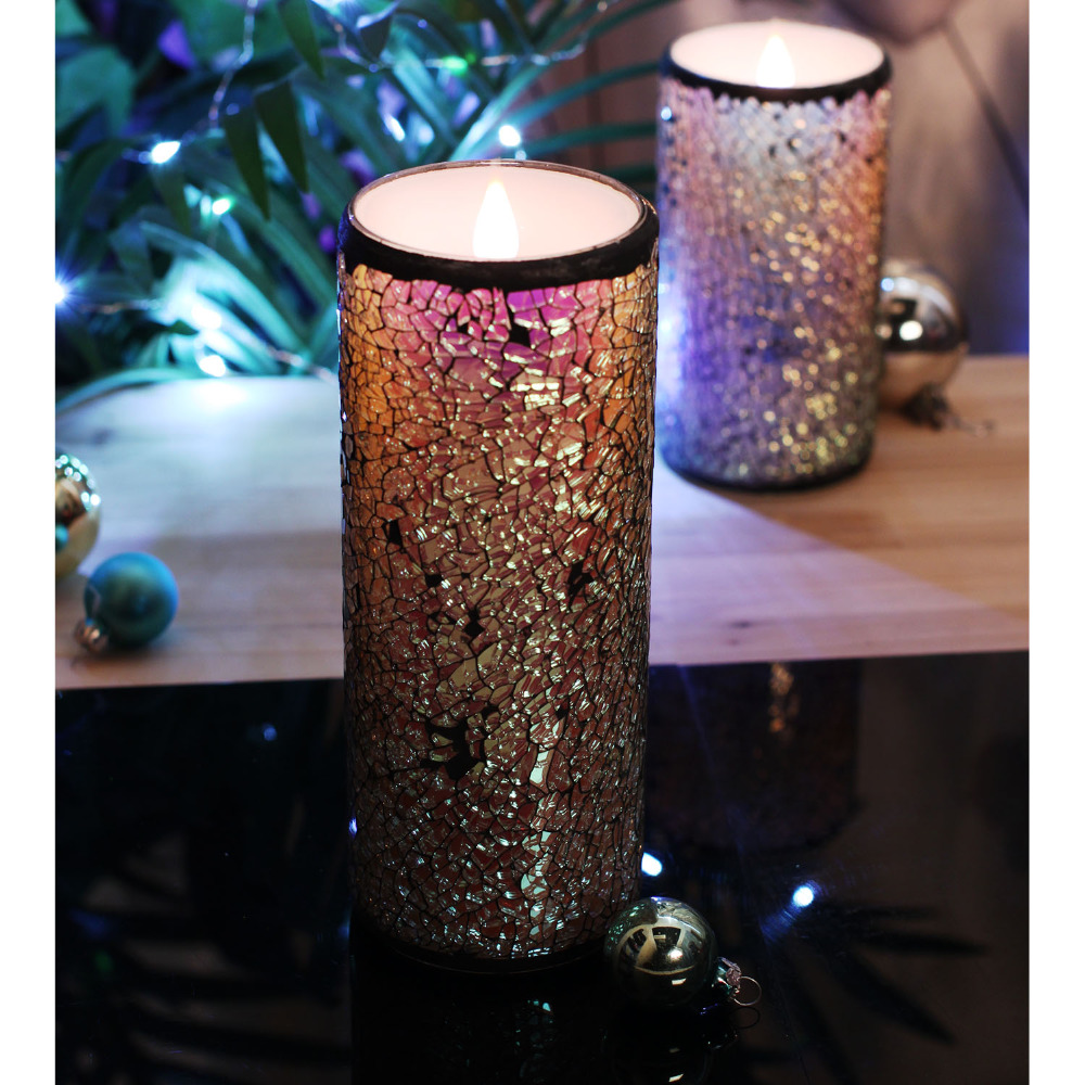 Glass Mosaic Flameless Moving Wick Wax Led Candle Lights