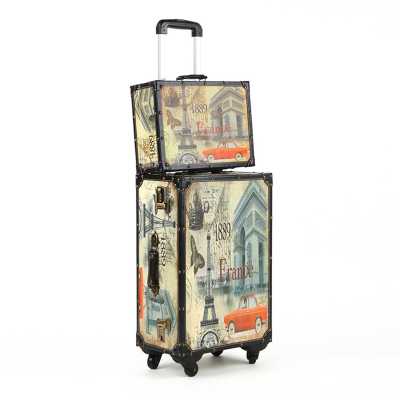 20 24 14 Inch PU Wood frame universal wheel rolling Paris style Carry Ons luggage travel case Vintage Sets trolley suitcase bags