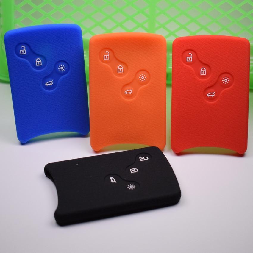1x Automjet i zgjuar nga silikoni Remote Mbajtëse çelësash Rasti i përshtatshëm për RENAULT Fluence Koleos Latitude Auto Key Mbrojtja e qeseve 4BTN