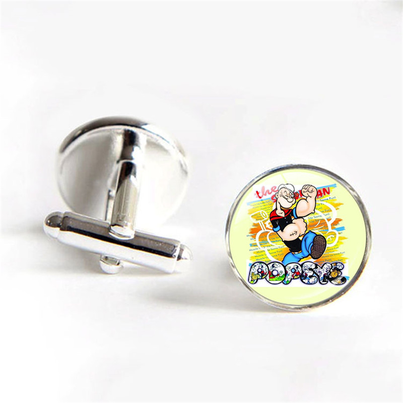 Cute Popeye The Sailor Silver Plate Men Shirt Cufflinks Fathers Day Gifts Wedding Dress Cuff links Groomsmen Gifts