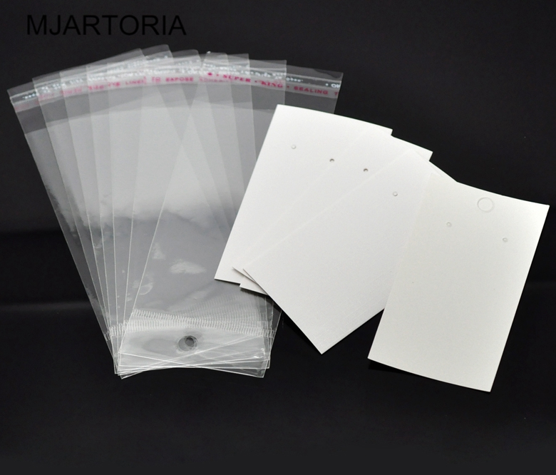 100 Sets Ear Hooks Earring Display Cards 9cmx5cm W/ Self Adhesive Bags 15cmx6cm