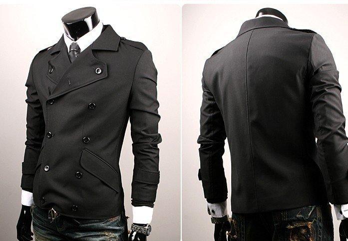 Men's jacket double breasted Casual jacket coat Slim Korea sweater ...
