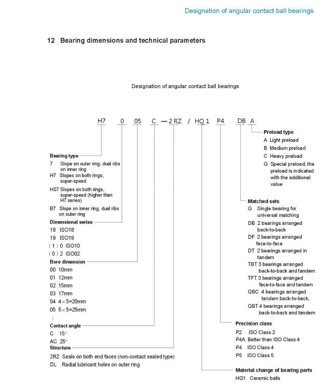 ABEC7 7001AC Selado Rolamentos de Contato Angular