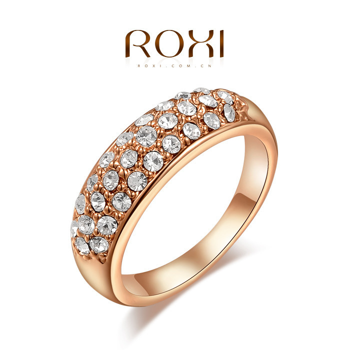 Roxi Brand Rings For Women Rose Gold White Gold Plated Inlaid Zircon ...
