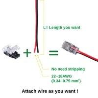 10 шт. Блок 2pin светодиодная лента разъем провод для 10 мм один цвет Сид IP65 водонепроницаемый 5050 СМД 5630 светодиодные ленты света связи дирижер
