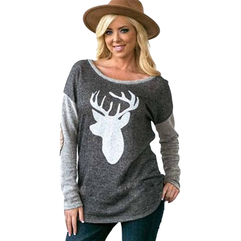 Fashion Women Long Sleeve Christmas Deer Printed T-Shirt Casual Loose Tops For Ladies Patchwork T Shirt