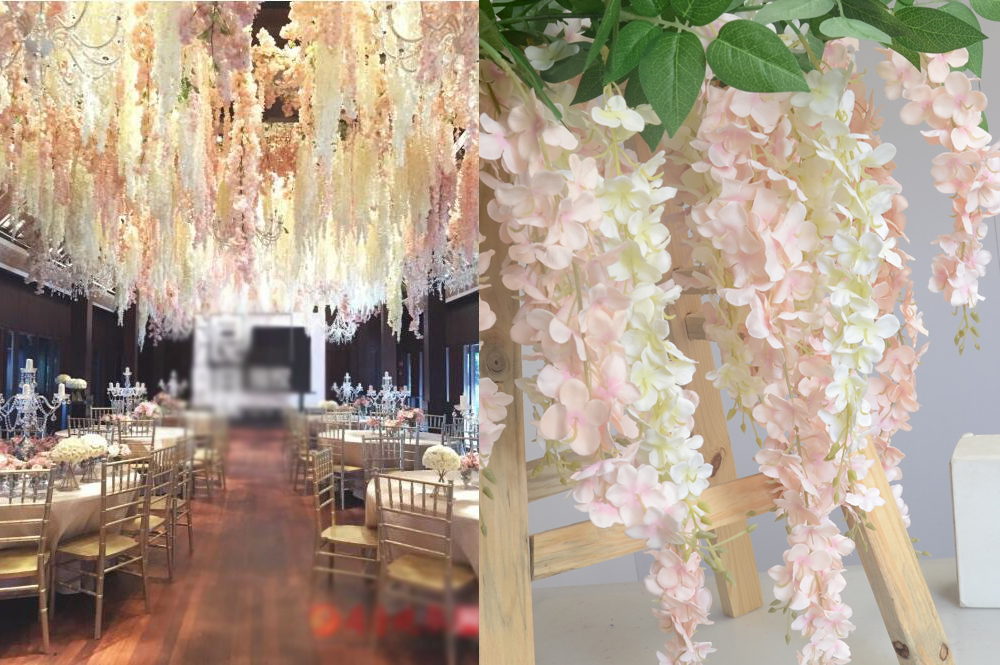 50pcs artificial hydrangea wisteria flower for diy for Artificial flowers for wedding decoration