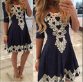 Plus Size Dresses Vestido Vintage 2016 Waist Sexy Lace Round Neck Short-Sleeve Dress Sexy Beautiful Cheap Kleid AX248