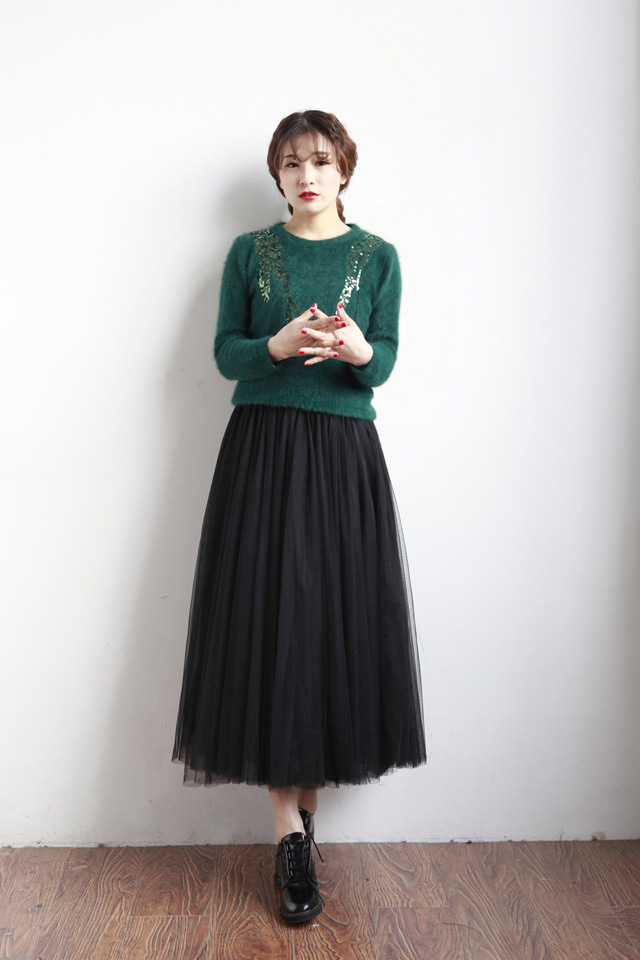 Net Yarn Ball Gown Casual Style Skirt Black Grey White