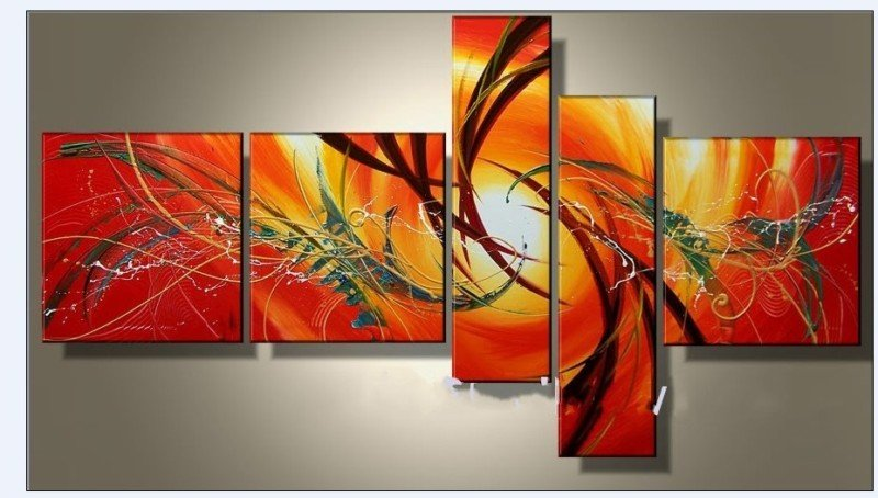 hand painted oil wall art elegant warm color sun decoration