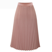 أزياء ربيع صيف طويل الشيفون مطوي تنورة المرأة الصلبة مرونة الخصر التنانير تنورة عارضة 2018 الأسود الأبيض الوردي sml xl