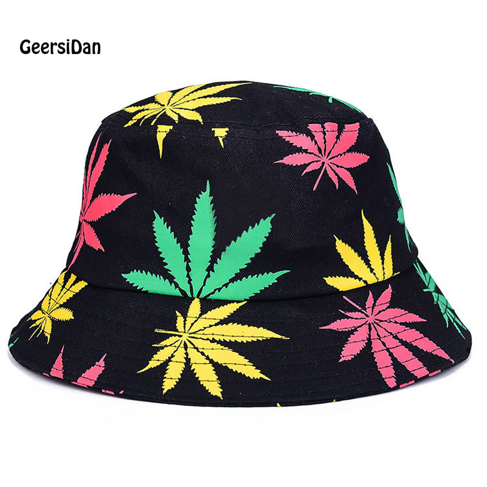 Spring summer men travel sun hats beach Pot cap couple sunscreen large brim Bucket Hats leaf letter pattern Foldable women hats