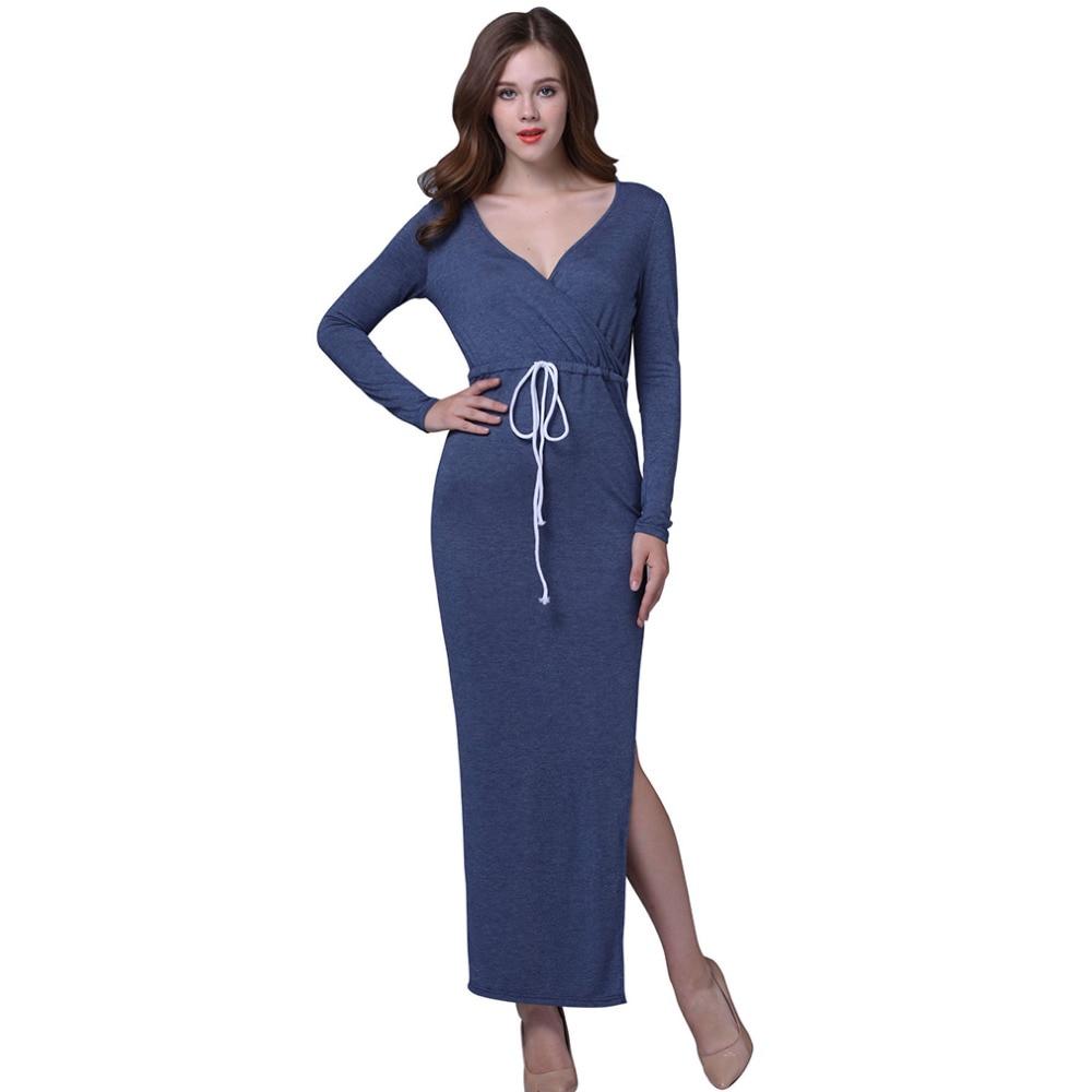 2017 new fashion summer style long sleeved dress women elegant casual wear to work office split Classy casual fashion style