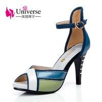 Universe Fashion High Heel Sandals Women shoe Genuine Leather Three color patchwork Elegant platform Shoes E069