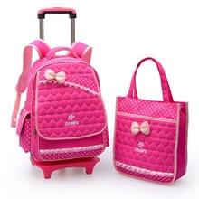 Impermeable de Nylon niños mochilas escolares bolso de Un juego de niños mochila Niño hombro Niñas mochila estudiantes mochila trolley