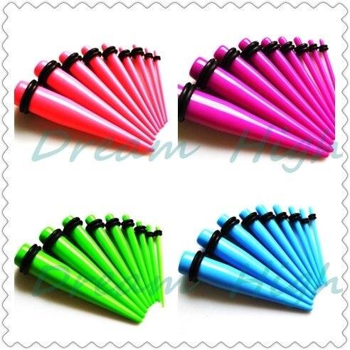 Новое поступление, 9 цветов, Эспандер для ушей, растягивающиеся растяжки, серьги, пирсинг для ушей, ювелирное изделие, УФ акрил, 1,6-10 мм,, комплект