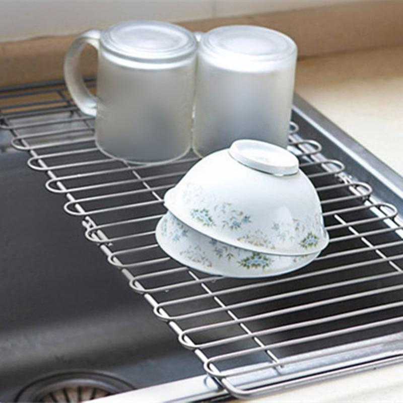 Dish Cup Storage Holder Drain Shelf Foldable Mop Towel Holders Dish Rack Kitchen Organizer Kitchenware Space