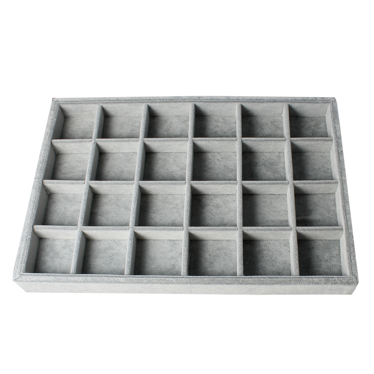 Doreen Box Velvet Clad Plate Gray Flocked 24 Compartment Jewelry Display Tray Insert Rectangle 35cm x 24cm ,1 PC 2017 new velvet flocked