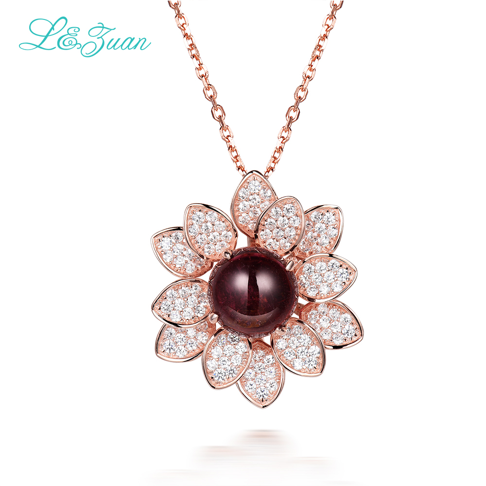 Joyeria fina 925sterling silver natural 2.86ct Tourmaline brown stone Necklace & Pendant for woman gift with silver chain takI