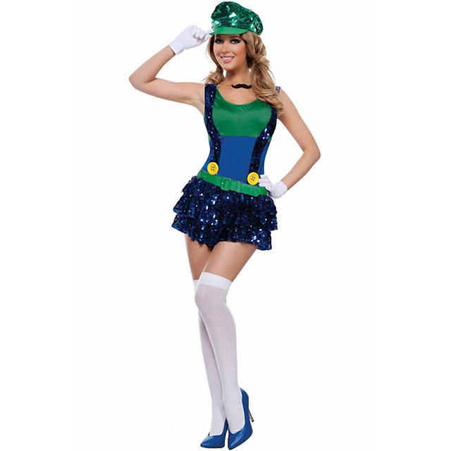 sexy green block jumping plumber mario cosplay video game halloween costume l15334 2
