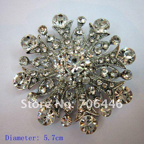 Родиевое покрытие прозрачный горный хрусталь ювелирные изделия большая брошь-цветок с кристаллами для свадебного приглашения
