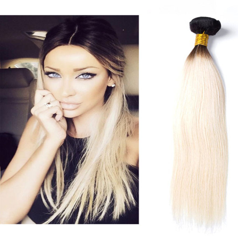 Full Shine Brazilian Remy Hair Straight 100g 1b 613 Ombre Bundle