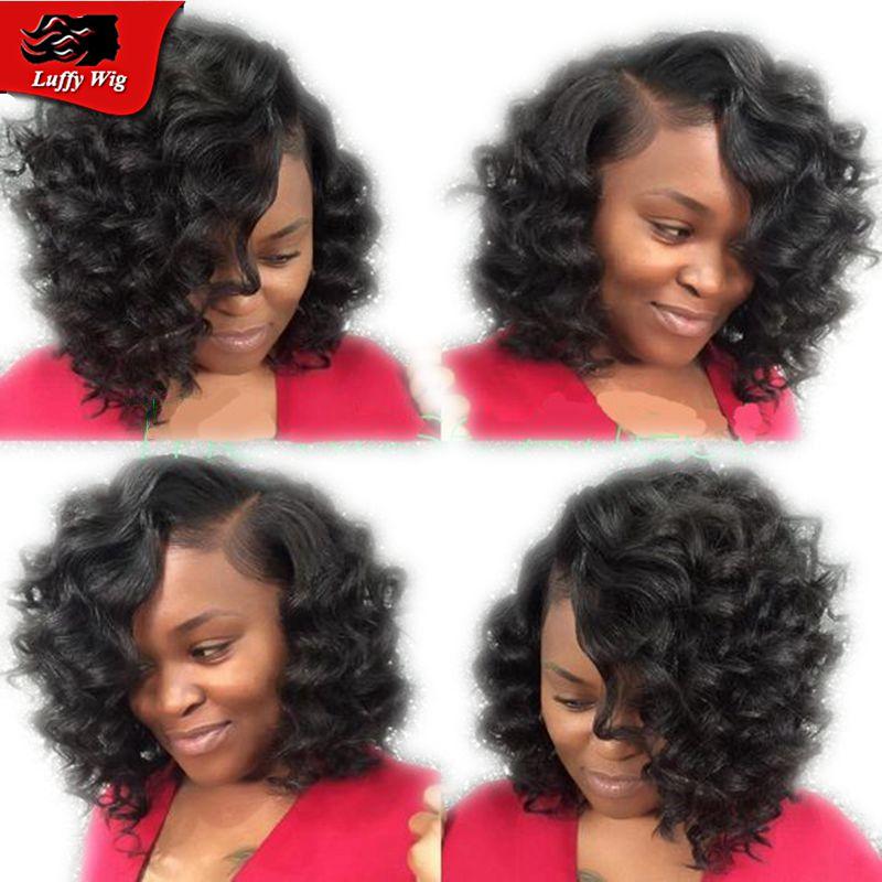 Bob deep curl Brazilian virgin human hair wigs for black