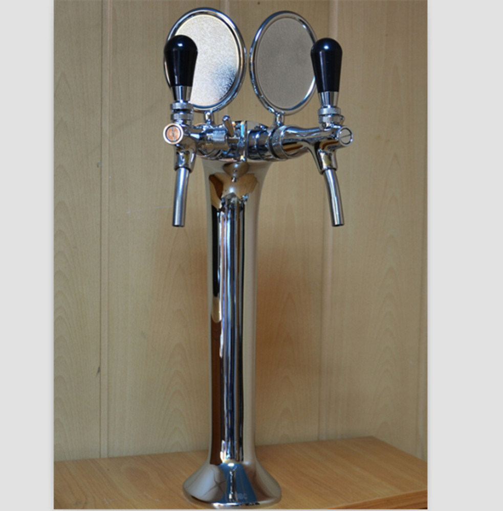 double lines beer tower with beer taps and beer medallion for bar counter accessories
