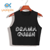 DRAMA QUEEN Letters Printed 100 Cotton Loose Crop Top Harajuku 2017 Summer Fashion Crop Tops Womens