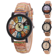 Women's Vintage Casual Wheel Beach Starfish Dial Faux Leather Band Wrist Watch